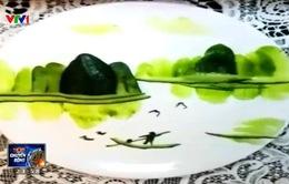 Vẽ tranh phong cảnh với... dưa chuột cắt lát