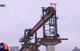 Lao dầm hơn 1.200 tấn tại tuyến đường sắt Cát Linh - Hà Đông