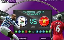 West Brom - Man Utd: Cạm bẫy tại The Hawthorns (00h30 ngày 18/12)