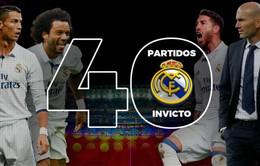 Những con số thống kê đằng sau kỷ lục 40 trận bất bại của Real Madrid