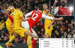 """Giroud ghi siêu phẩm """"bọ cạp"""", Arsenal vươn lên xếp thứ 3"""