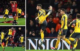 Giroud chói sáng, Arsenal giành 1 điểm từ thế bị dẫn 3 bàn