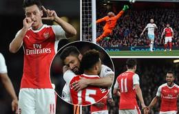 """Arsenal 3-0 West Ham: """"Pháo thủ"""" trở lại vị trí thứ 5 trên BXH"""