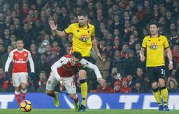 Vòng 23 giải ngoại hạng Anh: Arsenal thua sốc Watford
