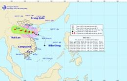 Tâm bão số 2 nằm trên vùng biển các tỉnh Thanh Hóa - Hà Tĩnh