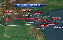 Tâm bão số 4 ở vùng biển phía Nam đảo Hải Nam (Trung Quốc)