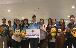 ĐT bóng chuyền nữ U23 Việt Nam trở về sau tấm HCĐ giải Vô địch châu Á