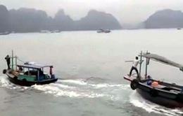 """2 tàu gỗ đuổi nhau """"thót tim"""" trên Vịnh Hạ Long"""