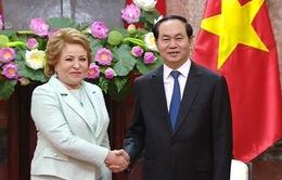 Chủ tịch nước Trần Đại Quang tiếp Chủ tịch Hội đồng Liên bang Nga
