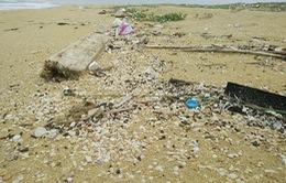 Dầu vón cục dạt vào bờ biển Quảng Nam