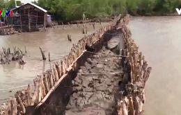 Đê quốc phòng tại Kiên Giang bị sóng biển đánh vỡ