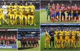 Griezmann lặp lại hành động lạ khi chụp với toàn đội Atl Madrid