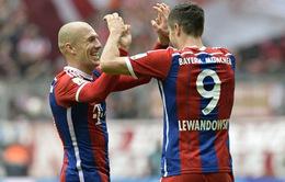 Lewandowski và Robben tỏa sáng, Bayern đè bẹp Hannover