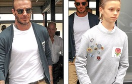 Romeo Beckham để cùng kiểu tóc với bố