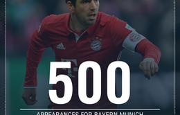 Philipp Lahm cán mốc 500 trận khoác áo Bayern Munich