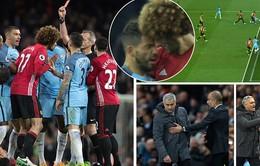 Derby Manchester: Fellaini nhận thẻ đỏ, MU chia điểm trước Man City