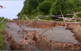 Sạt lở nặng trên Quốc lộ 28B, đoạn qua đèo Đại Ninh