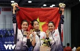 """SEA Games 29: 3 cô gái xinh đẹp """"mở hàng"""" HCV cho Taekwondo Việt Nam"""