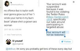 Bị khóa tài khoản Twitter vĩnh viễn vì nói xấu Taylor Swift