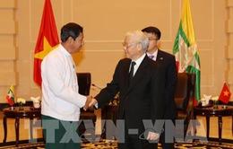 Tổng Bí thư tiếp Chủ tịch Đảng Đoàn kết và Phát triển Liên bang Myanmar