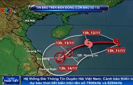 Bão số 13 có thể suy yếu thành vùng áp thấp nhưng vẫn gây thời tiết xấu