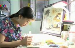 """""""Vẽ"""" tranh bằng... gạo"""