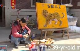 Độc đáo bức tranh hổ làm từ 320.000 que tăm ở Trung Quốc