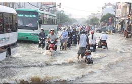 Triều cường gây ngập ở nhiều khu vực tại ĐBSCL