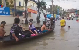 Nước bủa vây, phụ huynh bơi ghe trên phố đón con