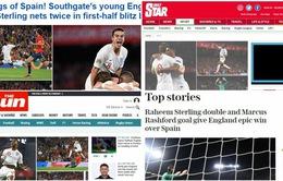 """Báo chí Anh """"nổ"""" tưng bừng sau chiến thắng sốc của Tam sư trước Tây Ban Nha"""