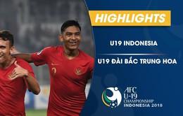 VIDEO: Tổng hợp diễn biến U19 Indonesia 3-1 U19 Đài Bắc Trung Hoa (Bảng A VCK U19 châu Á 2018)