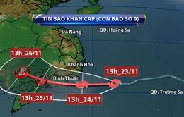 Bão số 9 tiếp tục mạnh lên, ảnh hưởng trực tiếp đến Nam Trung Bộ và miền Đông Nam Bộ