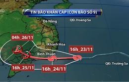Chiều tối đến đêm 24/11, bão số 9 sẽ vào đất liền nước ta