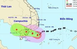 Bão số 9 suy yếu tiếp tục gây mưa to ở các tỉnh Trung và Nam Bộ