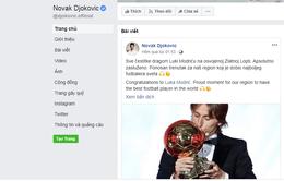 Novak Djokovic chúc mừng Luka Modric trên facebook