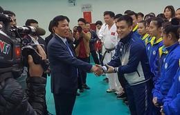 Bộ trưởng Bộ VH, TT & DL Nguyễn Ngọc Thiện chúc tết các VĐV tại Trung tâm huấn luyện thể thao quốc gia Hà Nội
