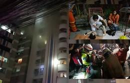 Hiện trường vụ cháy chung cư ở Bangkok khiến 3 người thiệt mạng và 60 người bị thương