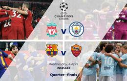 Lịch thi đấu tứ kết Champions League ngày 5/4: Liverpool – Man City, Barcelona – Roma