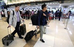 Đoàn phóng viên Hàn Quốc lên máy bay tới Triều Tiên