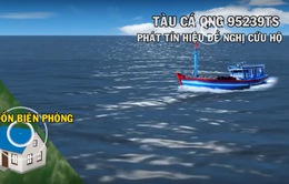 Lai dắt vào bờ tàu cá Quảng Ngãi hỏng máy trên biển