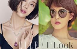 Cùng tóc ngắn, Kim Sun Ah và Hwang Jung Eum đọ sắc trên tạp chí