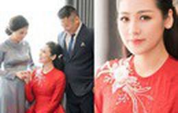 Á hậu Tú Anh xúc động trong lễ vu quy ngày Hà Nội mưa ngập