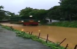 Clip: Tàu hỏa chạy trên đường ray ngập nước