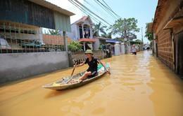 Nhiều xã ven sông Bùi, huyện Chương Mỹ, Hà Nội vẫn ngập nặng