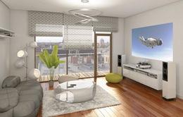 Trang trí phòng khách bằng màu be đơn giản
