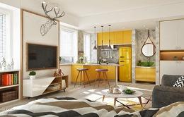 Vẻ đẹp của căn hộ dùng màu vàng làm điểm nhấn