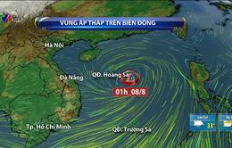 Áp thấp không ngừng gây mưa dông, gió giật ở nhiều vùng biển