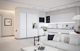 Căn hộ có nội thất màu trắng tinh tế