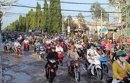 Triều cường gây ngập trên nhiều tuyến đường ở thành phố Cần Thơ