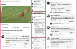 Mạng xã hội: CĐV khắp châu Á hết lời chúc mừng U23 Việt Nam